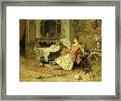 Watching The Baby  Framed Print by Edouard Toudouze