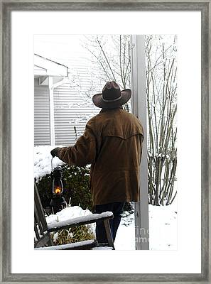 Watching The Snow Fall Framed Print by Olivier Le Queinec