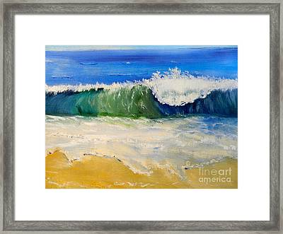 Watching The Wave As Come On The Beach Framed Print by Pamela  Meredith