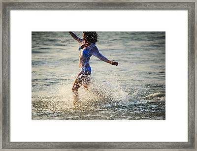 Water Excitement Framed Print by Jenny Rainbow