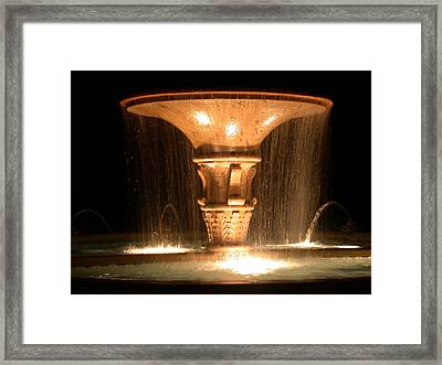 Water Fountain At Night Framed Print by Dana Bechler