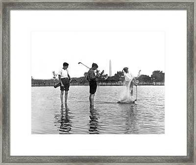 Water Hazard On Golf Course Framed Print by Underwood Archives