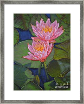 Water Lilies 6 Colorado Couple Framed Print by Fiona Craig
