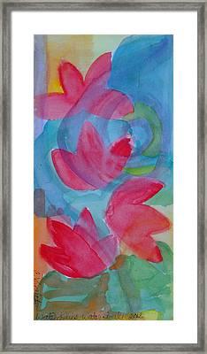 Water Lilies Water Swirls Version II Framed Print by Claudia Smaletz