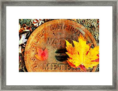 Water Meter Cover With Autumn Leaves Abstract Framed Print by Andee Design