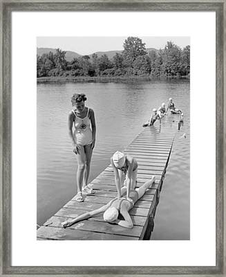 Water Safety At Camp Perkins Framed Print by Underwood Archives