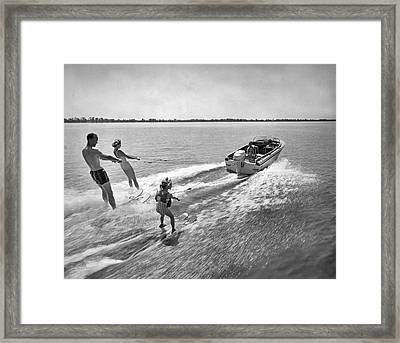 Water Skiing At Cypress Garden Framed Print by Underwood Archives