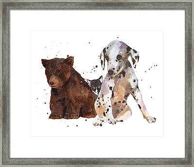 Watercolor Animal Painting Framed Print by Alison Fennell