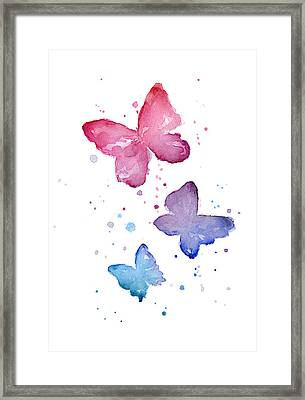 Watercolor Butterflies Framed Print by Olga Shvartsur
