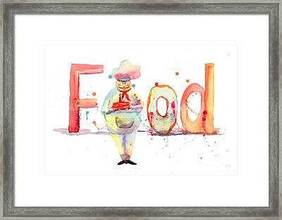 Watercolor Illustration Of Inscription Food With Chef  Framed Print by Regina Jershova