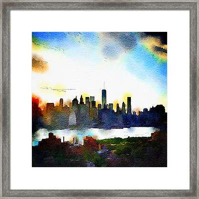 Watercolor Manhattan Framed Print by Natasha Marco