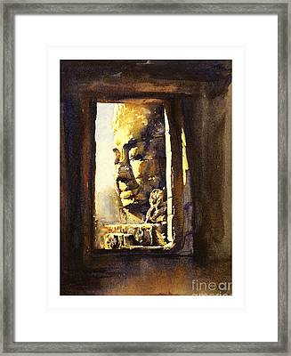 Watercolor Of Cambodian Temple Framed Print by Ryan Fox