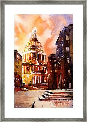 Watercolor Painting Of St Pauls Cathedral London England Framed Print by Ryan Fox