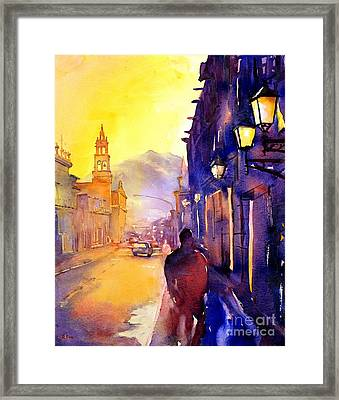 Watercolor Painting Of Street And Church Morelia Mexico Framed Print by Ryan Fox