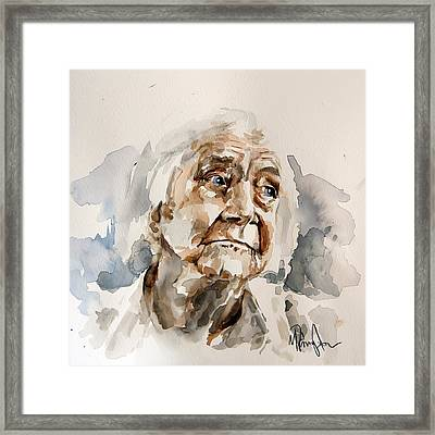 Watercolor Portrait Of An Old Woman Framed Print by Michael Tsinoglou
