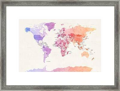 Watercolour Political Map Of The World Framed Print by Michael Tompsett