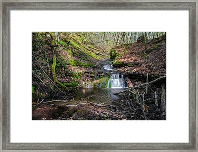 Waterfall At Parfrey's Glen Framed Print by Jonah  Anderson