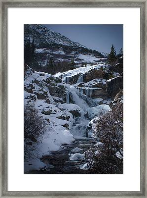Waterfall Frozen In Time Framed Print by Michael Bauer
