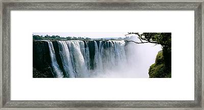 Waterfall In A Forest, Victoria Falls Framed Print by Panoramic Images