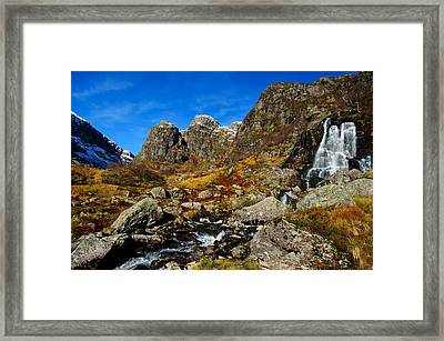 Waterfall In Autumn Mountains Framed Print by Gry Thunes
