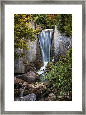 Waterfall In Japanese Garden Framed Print by Elena Elisseeva