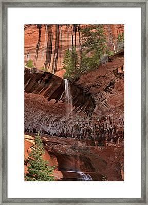 Waterfall In Kolob Canyons Framed Print by Leland D Howard