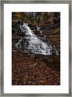 Waterfall In The Autumnal Equinox Framed Print by Susan Candelario