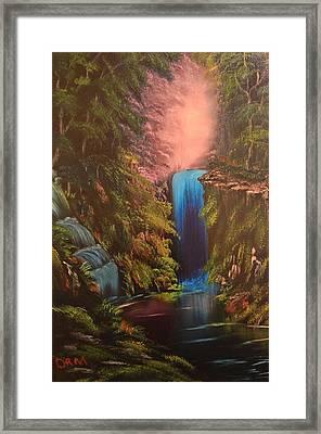 Waterfall In The Woods Framed Print by Koko Elorm