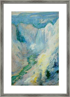 Waterfall In Yellowstone Framed Print by John Henry Twachtman