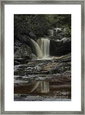 Waterfall Reflection On Big Run River  Framed Print by Dan Friend
