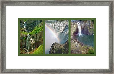 Waterfall Triptych Framed Print by Steve Ohlsen