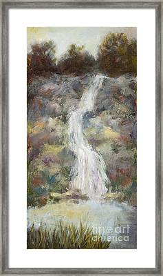 Waterfall With Gold Leaf By Vic Mastis Framed Print by Vic  Mastis