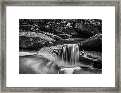 Waterfalls Great Smoky Mountains Bw  Framed Print by Rich Franco