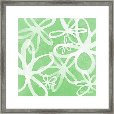 Waterflowers- Green And White Framed Print by Linda Woods