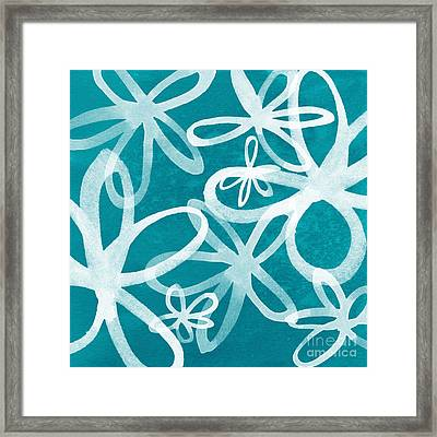 Waterflowers- Teal And White Framed Print by Linda Woods