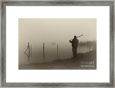 Waterfowler Before Dawn - D008866-bw Framed Print by Daniel Dempster