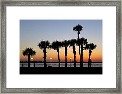 Waterfront After Dark Framed Print by Debra and Dave Vanderlaan