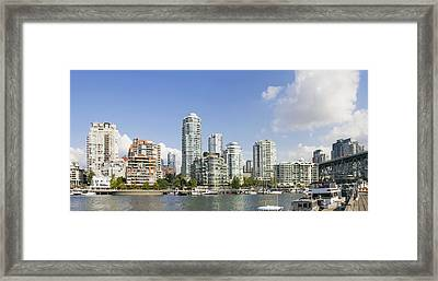 Waterfront Living By Granville Island Bridge Vancouver Bc Framed Print by JPLDesigns