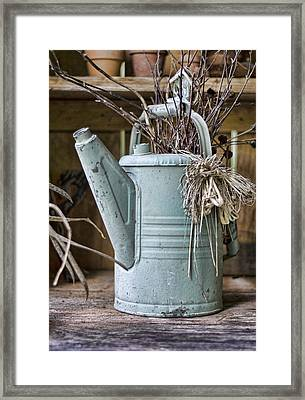 Watering Can Pot Framed Print by Heather Applegate