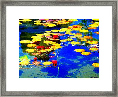 Waterlilies Pond Beautiful Nympheas Hommage De Monet Jardin A Giverny Water Scapes Carole Spandau Framed Print by Carole Spandau