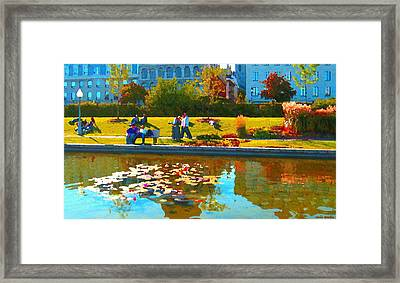 Waterlily Gardens At The Old Port Vieux Montreal Quebec Summer Scenes Carole Spandau Framed Print by Carole Spandau