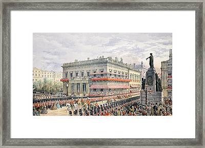 Waterloo Place And Pall Mall Framed Print by English School