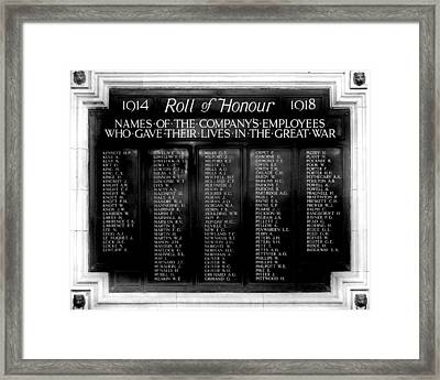 Waterloo Roll Of Honor 1914 1918 Framed Print by Gina Dsgn