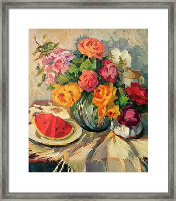 Watermelon And Roses Framed Print by Diane McClary