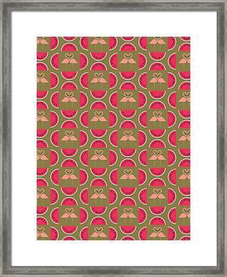 Watermelon Flamingo Print Framed Print by Susan Claire