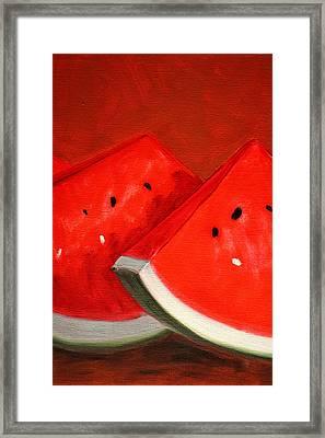 Watermelon Framed Print by Nancy Merkle