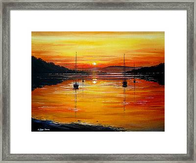 Watery Sunset At Bala Lake Framed Print by Andrew Read