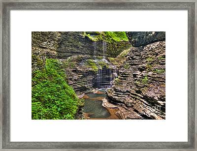 Watkins Glen Rainbow Falls Framed Print by Anthony Sacco