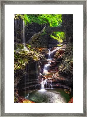 Watkins Glen Rainbow Falls Framed Print by Mark Papke