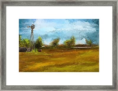 Watson Farm In Rhode Island - Old Windmill And Farming Art Framed Print by Lourry Legarde
